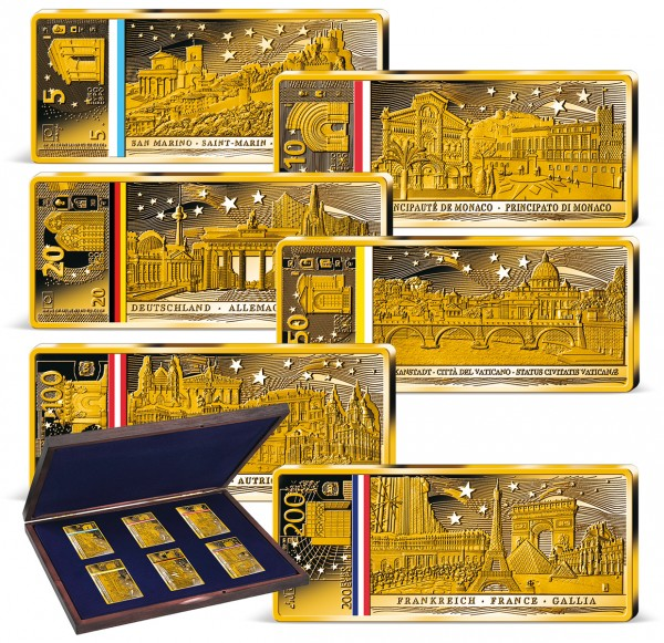 """6er Komplett-Set """"20 Jahre Euroländer Banknoten"""" in Barrenform AT_9038620_1"""