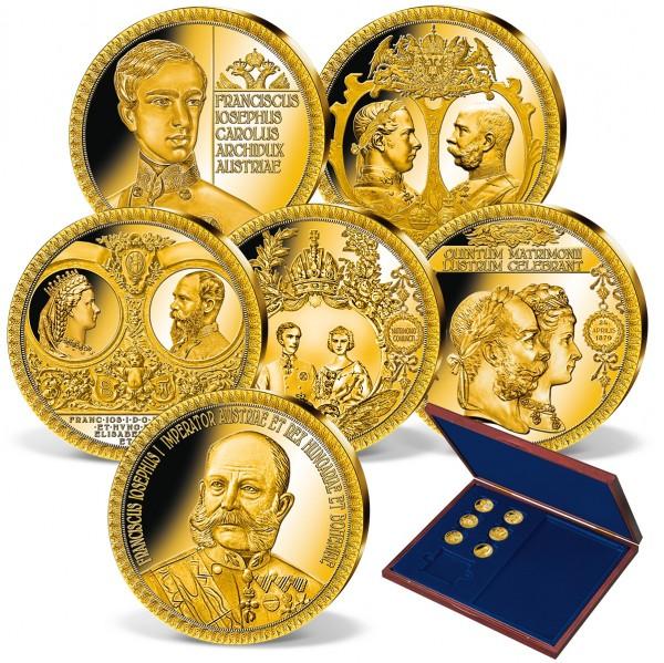 """6er Komplett-Set """"Franz Joseph I."""" in Gold AT_2871210_1"""