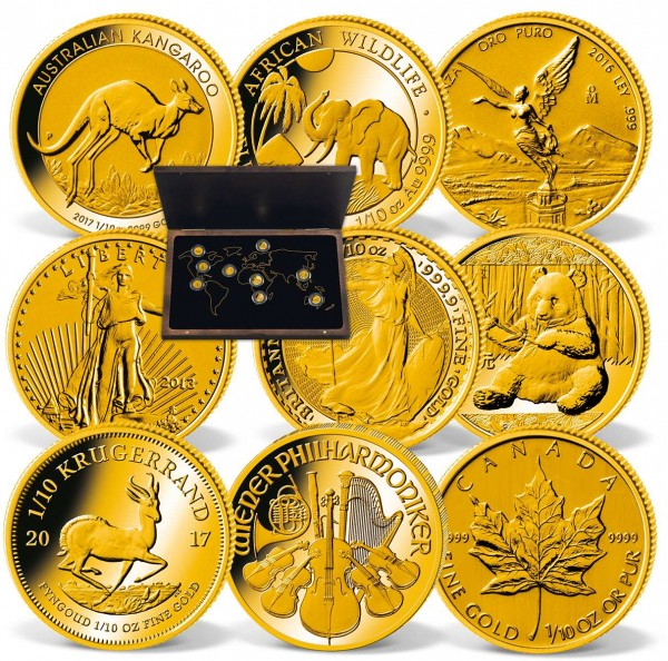 """Einzigartiges 9er Set Gold-Anlagemünzen """"The Big Nine"""" mit Krügerrand AT_2430700_1"""
