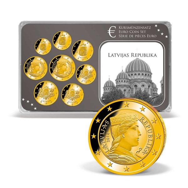 "Euro-Kursmünzensatz ""Lettland"" - 24 Karat vergoldet AT_2720490_1"