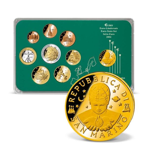 "Euro Set '""Italien"" mit vergoldeter 10 Lire Originalmünze aus San Marino AT_1203125_1"