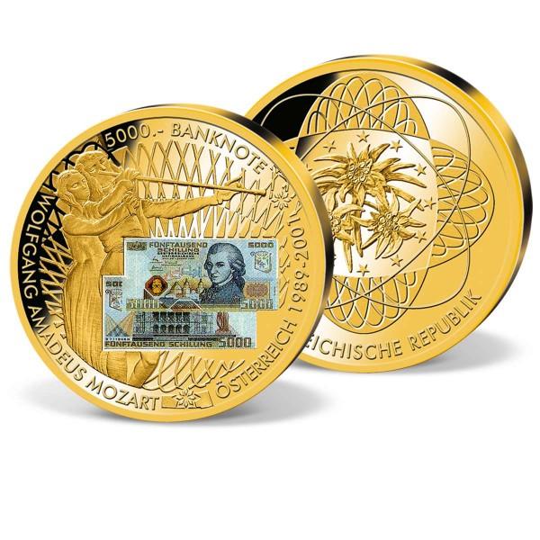 "Banknotenprägung ""5000 ÖS W. A. Mozart"" vergoldet AT_9182311_1"
