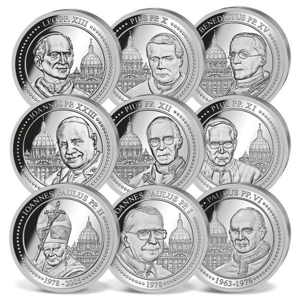 """Silbermünzen Komplettset """"Die Päpste des 20. Jahrhunderts"""" AT_1733031_1"""