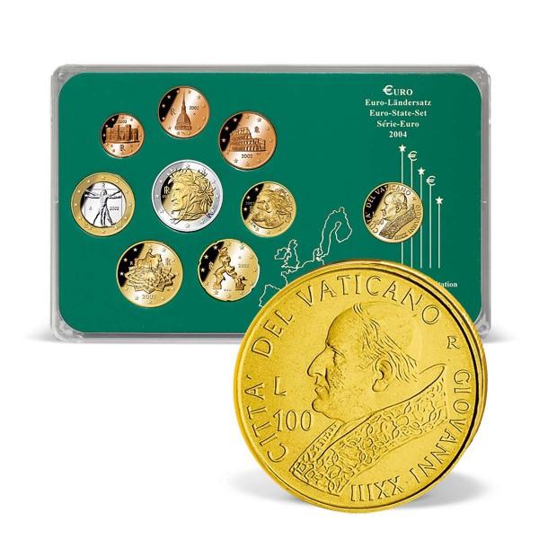 """Euro Set """"Italien"""" mit vergoldeter Kursmünze aus dem Vatikan AT_1203168_1"""