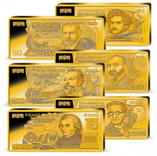 "Komplett-Set ""Schilling Banknoten"" im Barren AT_9038012_1"