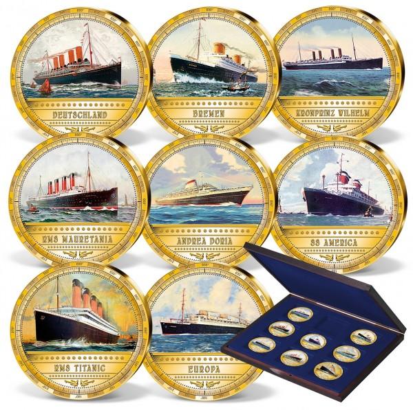 """8er Komplett-Set """"Die berühmtesten Dampfschiffe"""""""