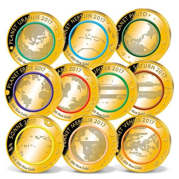 """10er Komplett-Set Goldmünzen """"Planeten des Sonnensystems"""" AT_1739068_1"""
