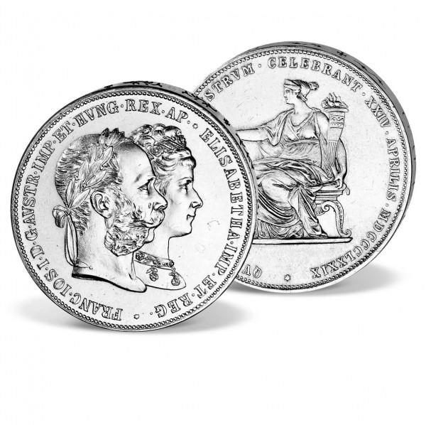"""Original-Doppelgulden """"Silberhochzeit Franz Joseph I. und Sisi"""" AT_1550241_1"""