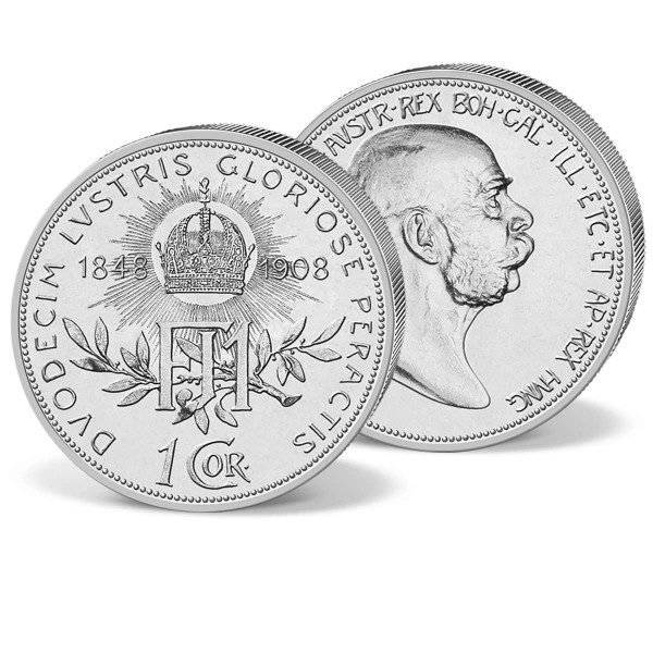 """Silbermünze 1 Krone Österreich """"Franz Joseph I. 1908"""" AT_1576400_1"""