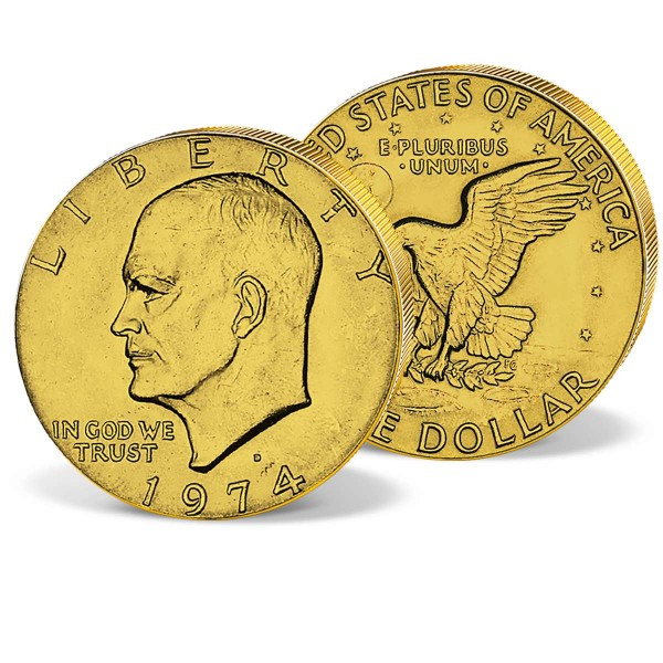 """1 Dollar """"Mondlandung Apollo 11"""" vergoldet AT_2623367_1"""
