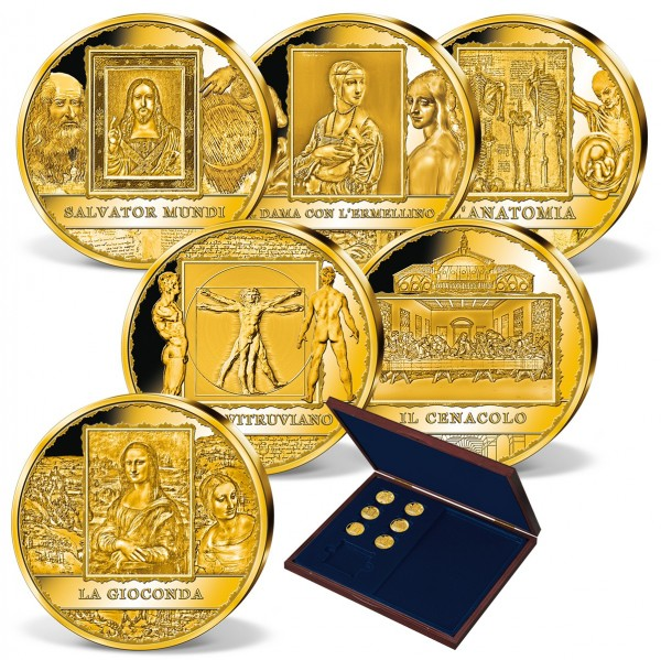 "6er Komplett-Set ""Leonardo da Vinci"" aus Gold AT_1954610_1"