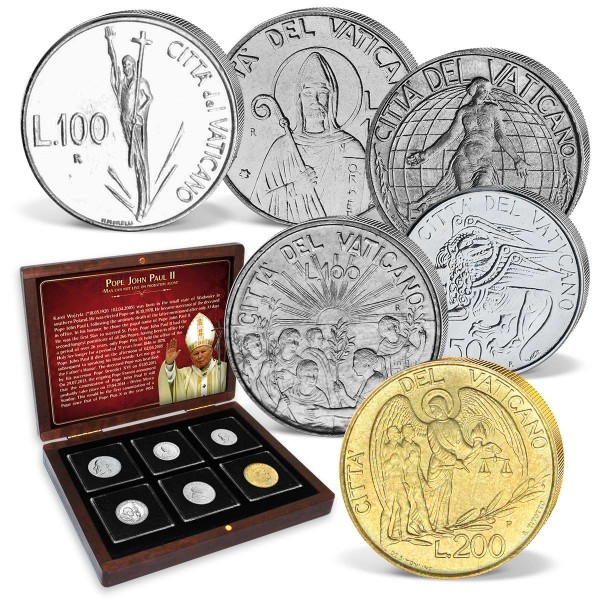 "6teiliges Set Lire-Münzen ""Papst Johannes Paul"" 1985-1999 AT_8811027_1"