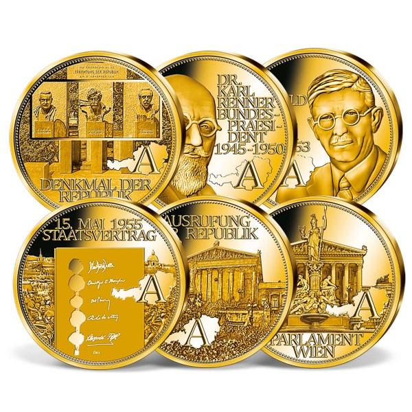 """Komplett-Set """"100 Jahre Republik Österreich"""" in Gold AT_9091807_1"""