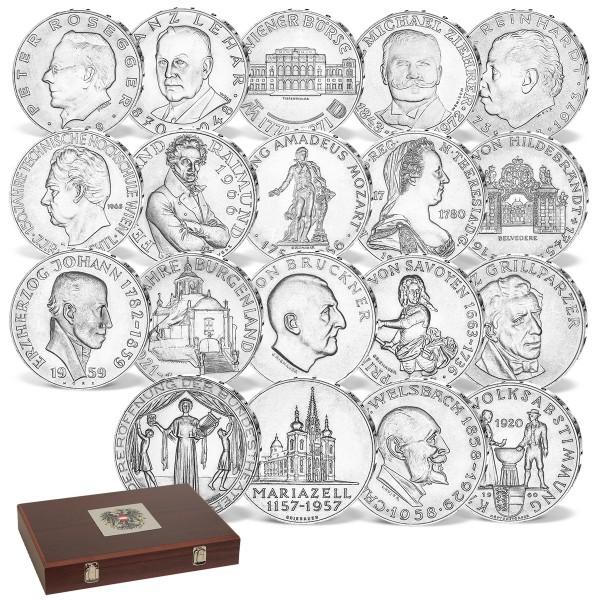 """19er Komplett-Set """"25 Schilling Silbermünzen Österreich"""" AT_2420065_1"""