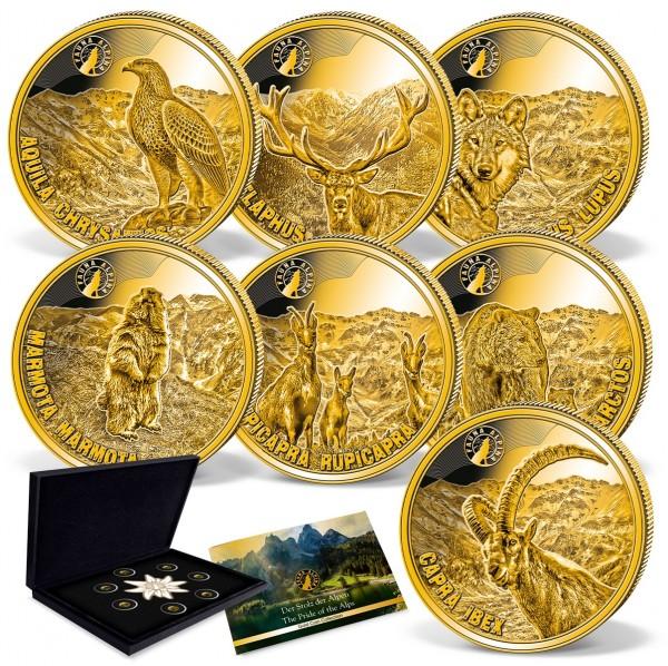 """7er Komplett-Set Goldmünzen """"Fauna Alpina"""""""
