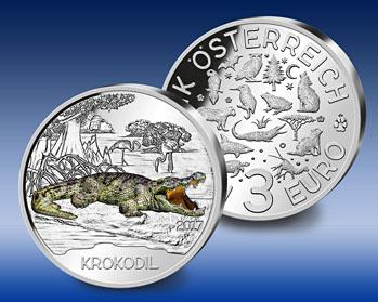 """3 Euro Gedenkmünze """"Das Krokodil"""" – der neue offizielle Tier-Taler Österreichs in 2017"""