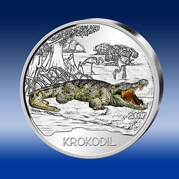 """Vorderseite der 3 Euro Gedenkmünze """"Das Krokodil"""" – Tier-Taler Österreichs in 2017"""